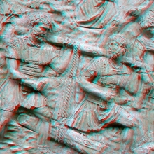 Anaglyph of Scene 16/XVI: soldiers drag a log from a forest.