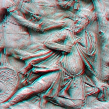 Anaglyph of Scene CXLV: The suicide of Decebalus. RBU2012.1000125-a