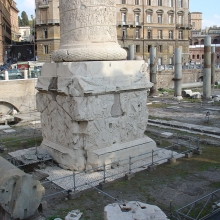 View of the northwest and southwest sides of the pedestal and the lower drum of the Column of Trajan.