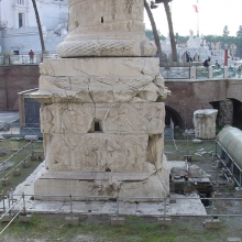 View of the pedestal and base of the Column of Trajan, northeast side.
