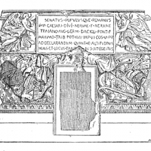 A nineteenth-century illustration of the entrance and dedicatory inscription of the Column of Trajan.