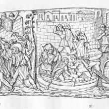 Scene 32: Dacians attack a Roman Fort; Scene 33(partially shown): Romans depart from a riverside.