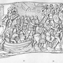 Scene 35: Trajan disembarks on the riverbank; Scene 36 (to right): The infantry set out.