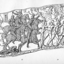 Scene 37: Attack and defeat of the Sarmatians; Scene 38: Attack by night against the Dacians. Compare Cichorius Plates XXVIII-XXIX. From the original publication of 1865; Ref: F-D-37-38.