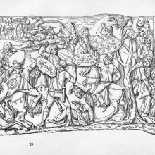 Scene 38: Battle by night against the Dacians (up to the tree on the far right).