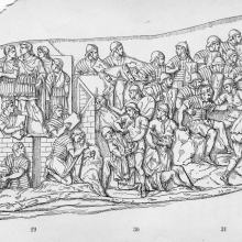 Scene 39 (left): Trajan, camp-building scene; Scene 40 (right): Roman soldiers engage Dacians.