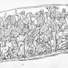 Scene 40: A battle rages against the Dacians.Scene 41 (after the tree divider): the Dacians are routed.