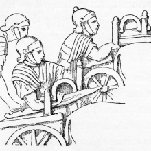 Scene 40: Detail of Roman ballistics, on the tops of casts nos. 104-105.  Compare to Cichorius Pl. XXXI.  From the original publication of 1865; Ref: F-D-40det.
