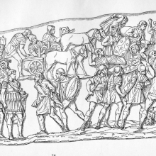 Scene 40: Roman soldiers battle Dacians; prisoners are taken.  Compare to Cichorius Plate XXXI.