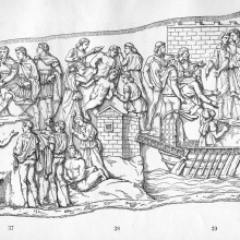 Scene 44 (left): Trajan rewards his soldiers; Scene 45 (middle): Prisoners (Romans?) are tortured; Scene 46 (right): Trajan embarks.  Compare Cichorius Plate XXXIV.