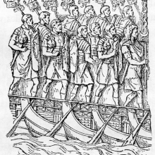 = Cichorius Scene 4: Soldiers march over pontoon bridges of Trajan's Column. 