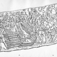 Scene 66: Roman ballistae are set up on the walls of a fort (visible in the upper left) and among log-reinforced defenses.  Compare Cichorius Plate XLVII.