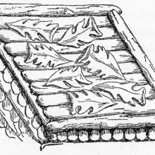 Scene 66 (detail): Detail of a log-built bunker wall covered with leaves, perhaps for camoflage or to suppress enemy attack by fire.  Compare to Cichorius Plate XLVII. From the original publication of 1865; Ref: F-D-66c.