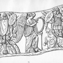 Scene 78: The end of the first Dacian War.  Trophies and Victory.  Compare Cichorius Plate LVII.