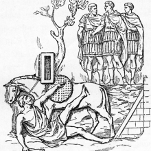 = Cichorius Scene 9: the omen(?) of the man falling off the horse in the presence of Trajan.  Compare Cichorius Pl. X. From the original publication of 1865; Ref: F-D-9.
