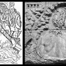 Left: Scene (3) of the River Danube by Duvaux in Froehner (1865).