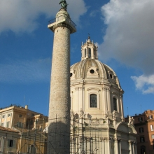 View of Trajan's Column in 2003 with partial scaffolding. Dedicated 113 CE.