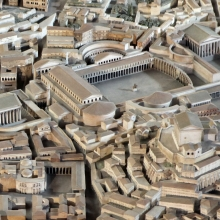 A model of the Forum of Trajan in the Museo della Civiltà Romana, EUR, Rome.In the traditional reconstruction envisioned by Gismondi, the forum was bordered on the northwest side by the imposing Temple of the Deified Trajan, which faced the Column of Trajan (visible behind the Basilica Ulpia).  