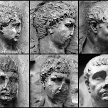 On the Column of Trajan, from left to right (profile top and side/three-quarter view bottom). 1. (Left, top and bottom): Adlocutio (Scene 10). Compare Cichorius Pl. XI and Coarelli Pl. 10. 2. (Middle, top and bottom): Trajan interrogates a Dacian prisoner (Scene 18); Compare Cichorius Pl. XIV and Coarelli Pl. 16. 3. (Right, top and bottom): Trajan is presented with severed Dacian heads (Scene 24); Compare Cichorius Pl. XVIII and Coarelli Pl. 22. Images from casts in the Museo della Civiltà Romana. (Photos by Ulrich; Image Grid by Z. Mei)