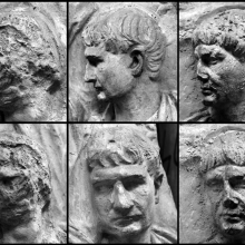 On the Column of Trajan, from left to right (profile top and side/three-quarter view bottom).