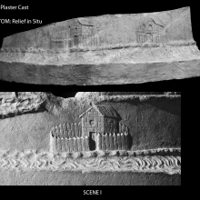 Scene 1/I: Comparison between the cast (top) in the Museo della Civilta' Romana and the relief in situ (below).