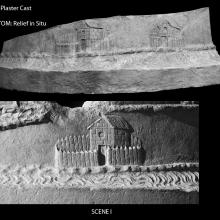 Scene 1/I: Comparison between the cast (top) in the Museo della Civilta' Romana and the relief in situ (below). Compare to: Cichorius Plate IV, Scene I; Coarelli (2000) Pl. 1, pg. 45. RBU photo 2011.6905 and 2013.3798