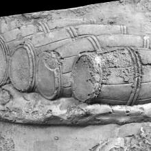 A detail of barrels in Scene 2/II of the Column of Trajan. Cast from the Museo della Civilta' Romana, Rome. Ref: RBU2011.6910