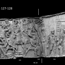 Scenes 127-128/CXXVII-CXXVIII: Legionaries construct a masonry fort, lifting blocks and branches while breaking rocks with heavy mallets or sledgehammers and chopping timber with axes (casts 343-345). In Scene 128 two sentries stand guard outside of an encampment.  A curved gate enclosure (clavicula) is clearly represented in the background of cast 346.  From casts 343-347, now in the Museo della Civiltà Romana, Rome. Compare Cichorius Pls. XCV-XCVI, scenes 127-128 and Coarelli Pls. 155-156. Ref: RBU2011.8248-composite.