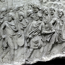 Scene 136/CXXXVI (detail): Dacian soldiers on the run; they pass a fortified camp just visible in the background. From casts 362-363, now in the Museo della Civiltà Romana, Rome. Compare Cichorius Pl. C, scene 136 and Coarelli Pl. 162. Ref: RBU2011.8271-136