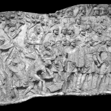 Scene 23/XXIII (Spiral 3): Soldiers clear a forest.Scene 24 (right): The beginning of the first major battle scene. Compare Cichorius Plate XVII  (Scene 23); Casts nos. 53-54 in the Museo della Civiltà Romana. Ref: RBU2011.6977comp. (Composite from two photographs).
