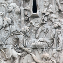 """Scene 24/XXIV: The Dacian king, Decebalus, witnesses the defeat of his men from the cover of a pine forest (upper right).  This is the first appearance of the Dacian king on the Column, and one of <a href=""""http://www.trajans-column.org/?page_id=866"""">six scenes</a> that are thought to represent the Dacian king. Actual relief in situ. Compare Cichorius Pl. XIX (Scene 24) and Coarelli Pl. 24.  Ref: RBU2013.2065-D."""