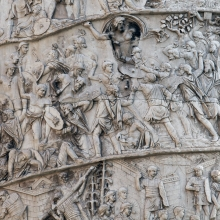 Scene 24/XXIV: The first great battle scene, right side, in situ.  Jupiter joins the Roman side.   His raised right arm is poised to throw a (missing) thunderbolt.  RBU2015.5463