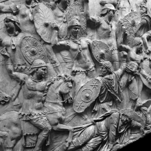 Scene 24/XXIV: The first great battle. Roman auxiliary infantry and calvary fight the Dacians.From a cast now in the Museo della Civiltà Romana, Rome.