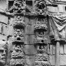 Scene 51: Military standards (praetorian signa; cf. Rossi 1971: 106) carried in the group that accompanies the emperor Trajan. From cast 127, now in the Museo della Civiltà Romana, Rome. Compare Cichorius Pl. XXXVII, scene 51 and Coarelli Pl. 53.  RBU2011.7111