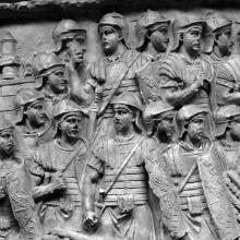 Scene 66/LXVI: Roman legionaries in full battle dress await the order to attack. From cast #166, now in the Museo della Civiltà Romana, Rome. Compare Cichorius Pl. XLVII scene 66 and Coarelli Pl. 72.  Ref: RBU2011.7155.