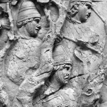 Scene 66/LXVI: Roman allied archers, wearing full body armor and conical hats, join in battle against the Dacians.