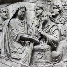 Scene 53/LIII (Suovetaurilia): The emperor, velate, performs the sacrifice.   From casts 132-34, now in the Museo della Civiltà Romana, Rome. Compare Cichorius Pl. XXXVIII, scene 53 and Coarelli Pl. 55.  RBU2011.7115