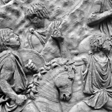 Scene 64/LXIV: Detail of two Moorish riders.  From casts 155-156, now in the Museo della Civiltà Romana, Rome. Compare Cichorius Pl. XLIV, scene 64 and Coarelli Pl. 67.  RBU2011.7145.