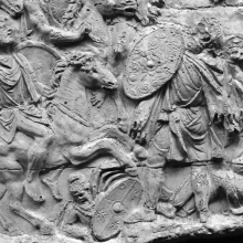 Scene 64/LXIV (detail): A Moorish rider confronts a Dacian warrior on foot.