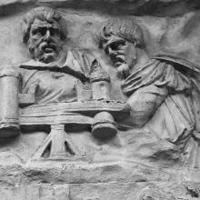 Scene 66/LXVI: It appears that two Dacians have managed to acquire a ballista in this scene - perhaps a captured Roman weapon?   From cast #169, now in the Museo della Civiltà Romana, Rome. Compare Cichorius Pl. XLVIII scene 66 and Coarelli Pl. 73.  Ref: RBU2011.7163.