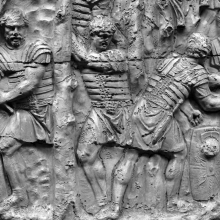 Scene 69/LXIX (detail): Roman legionaries clear the forest in preparation for an attack.  Axes must have been added as metal attachments that are now lost.  From casts 175-176, now in the Museo della Civiltà Romana, Rome. Compare Cichorius Pl. XLIX, scene 69 and Coarelli Pl. 77.  Ref: RBU2011.7172.