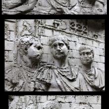 Scene 50/L: Trajan receives a group of legionaries; here three views of the emperor with his officers.From cast 126, now in the Museo della Civiltà Romana, Rome. Compare Cichorius Pl. XXXVI, scene 50 and Coarelli Pl. 52.  RBU2012.9956-58