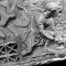 Scene 14/XIV: Close view of a soldier gathering water. Cast in the Museo della Civiltà Romana, Rome. Compare Cichorius Pl. XIII, scene 14. Ref: RBU2011.6951