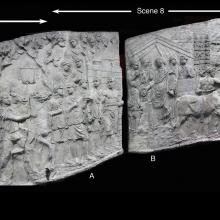 Scenes 7/VII-8/VIII: A composite image from casts of Trajan's Column.  To the left, scene 7, the cavalry moves off.  Scene 8 show the first sacrifice scene with priests (A), the emperor making sacrifice before a tent (B) and the preparation for the suovetaurilia (C). Casts in the Museo della Civiltà Romana, Rome. Compare: Cichorius Plates IX and X. Ref: RBU2011.composite7-8