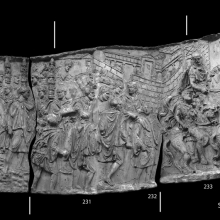 Composite image of Scenes 87/LXXXVII-89/LXXXIX: Soldiers, led by Trajan who is framed by standards (Cast 230), all wearing traveling clothes, depart from the coast (note the ship in the background of cast 229).  The rocky outcrop on the left (229) may indicate the shore of Dalmatia (Coarelli  2000: 46).  The entourage passes by a walled city (background, casts 232-233).  A second procession appears to start at the right side of the walled city (Cichorius Scene 89). At the head of a group of horsemen a mounted Trajan moves swiftly to the right.