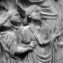 "Scene 84/LXXXIV: Detail of civilians (here children) who accompany Trajan when he has just left the harbor town (presumably his ""profectio"").
