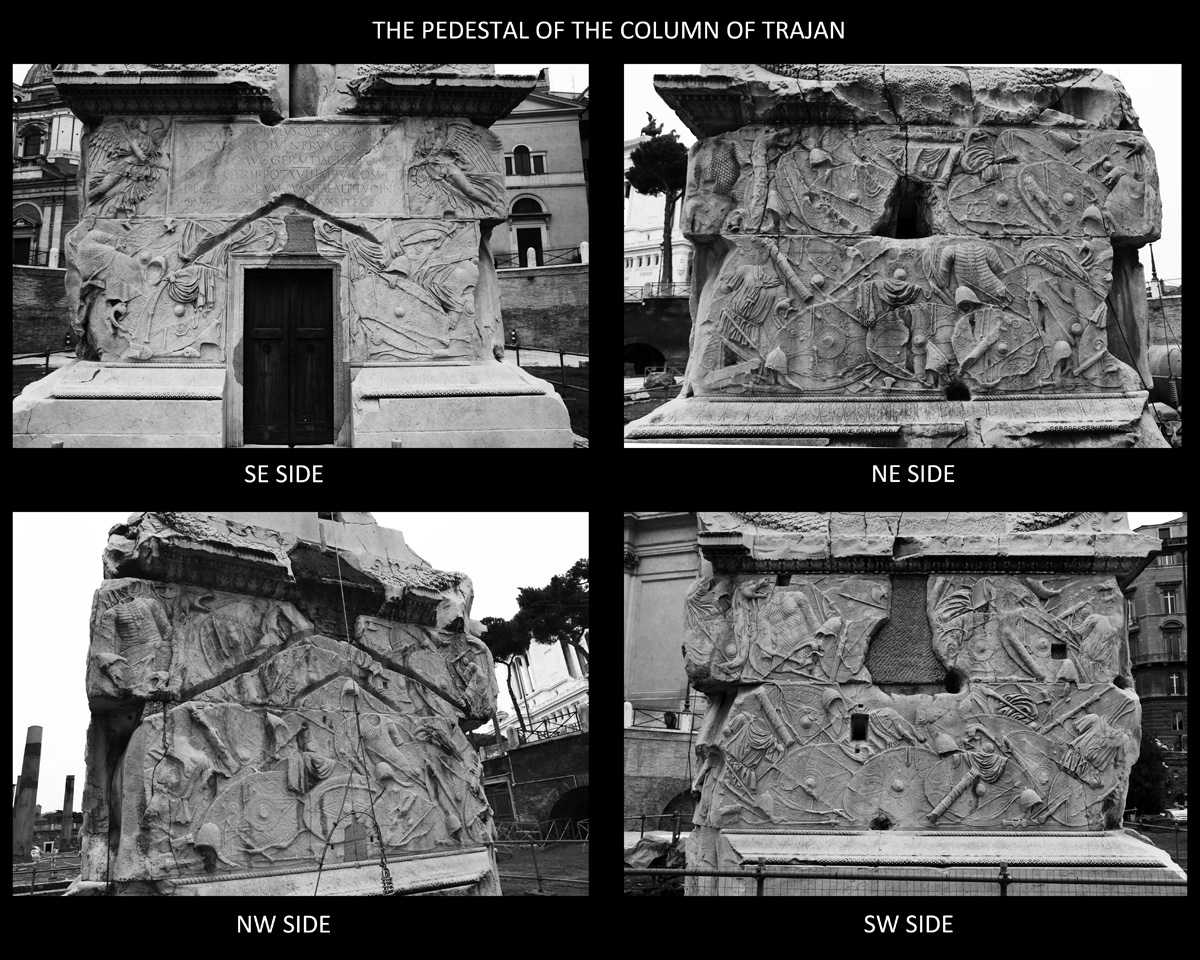 The four faces of the pedestal of the Column of Trajan in Rome.