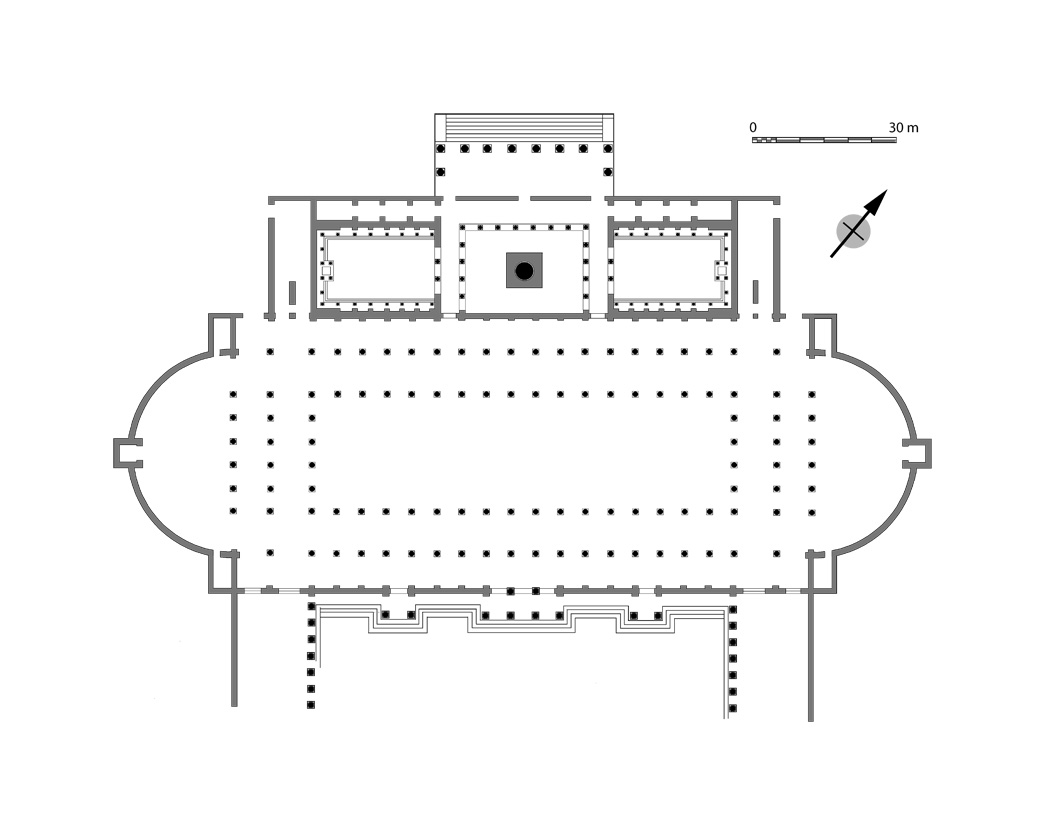 Plan of the northwest side of the Forum of Trajan. The Column stood in a courtyard placed between flanking libraries. The covered hall of the double-apsed Basilica Ulpia bordered both libraries and the Column.